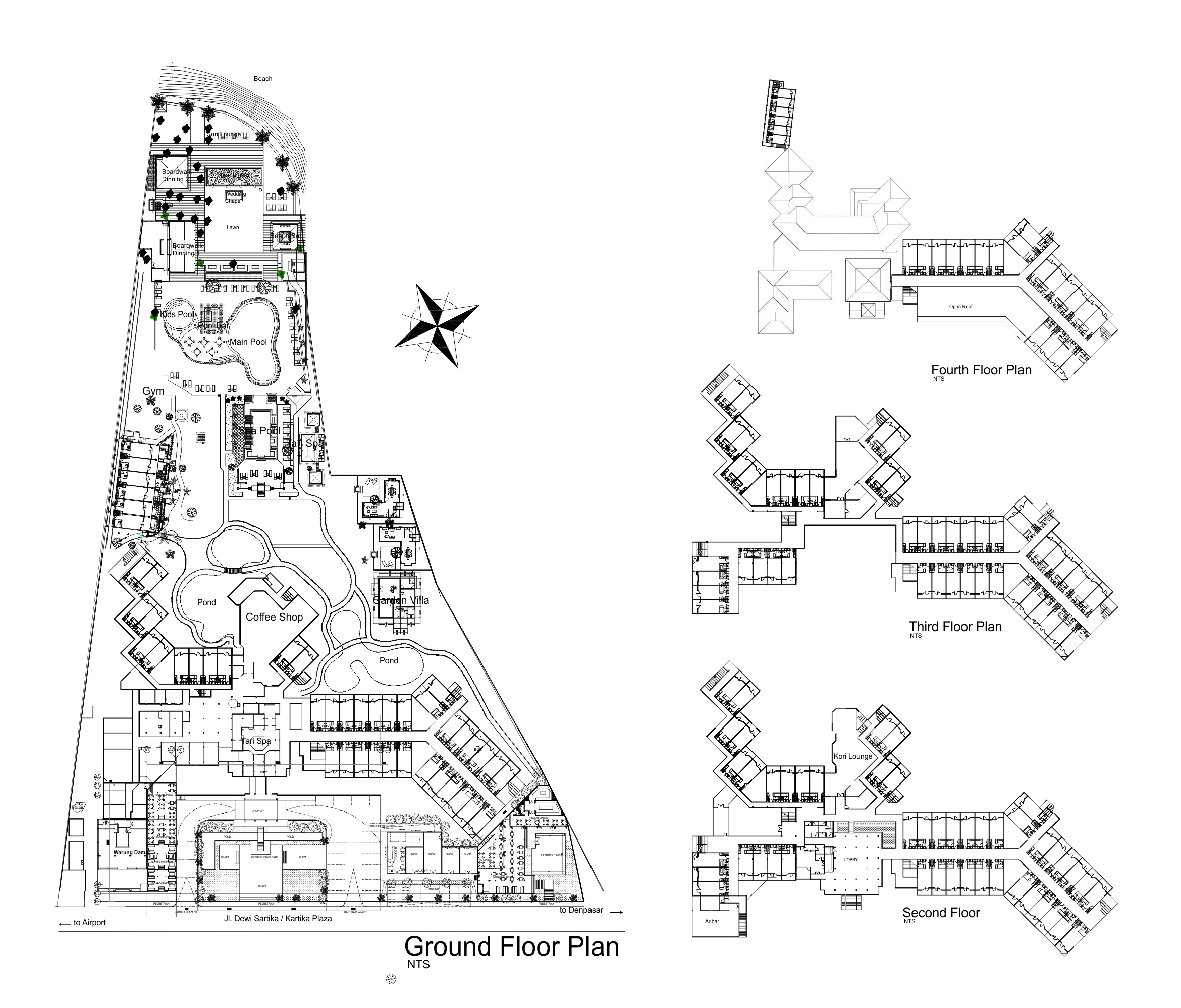 Hotel floor plan bali garden beach resort a hotel for Hotel design layout