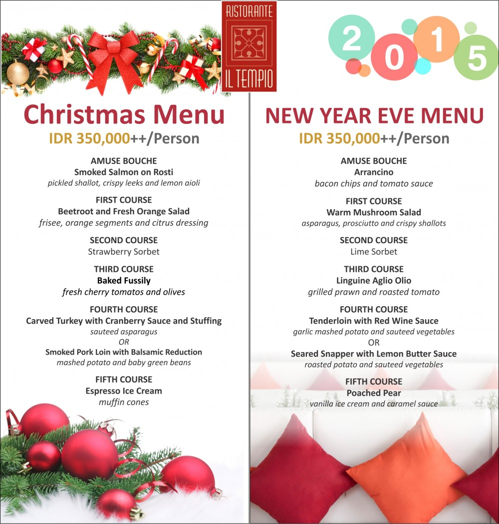 ILTEMPIO CHRISTMAS AND NEW YEAR MENU