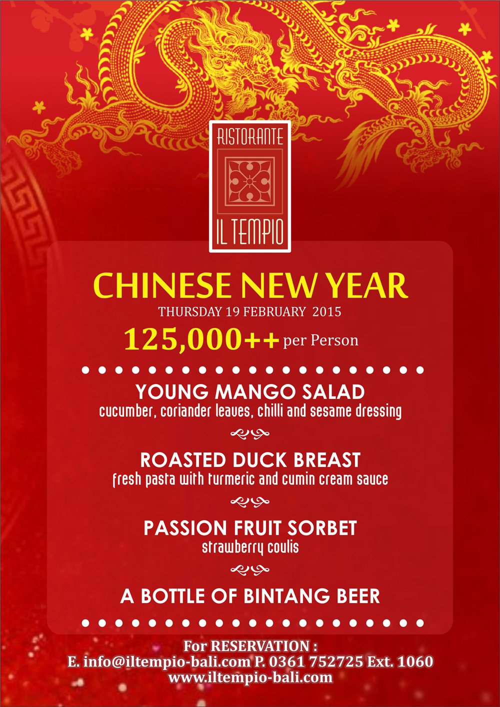 IL TEMPIO SPECIAL MENU FOR CHINESE NEW YEAR! - Bali Garden Beach ...
